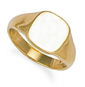 9ct Gold Plain Cushion signet Ring 8g Hallmarked